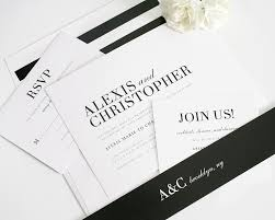 Glamorous Black And White Wedding Invitations AEUR