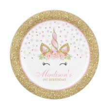 Unicorn Pink And Gold Paper Plate 7quot Plates