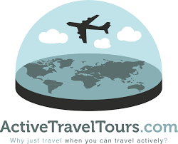 Active Travel Tours New Logo With Jet Flying Inside Snow Globe