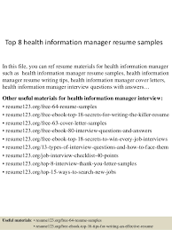 Top 8 Health Information Manager Resume Samples In This File You Can Ref Materials