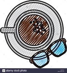 Coffee Cup In Dish And Glasses Top View Vector Illustration Drawing Color Image