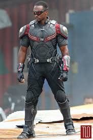 Anthony Mackie On Movie Set Captain America Civil Dressed In His Falcon Costume