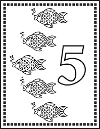 Click To See Printable Version Of Number 5 Or Five Fishes Coloring Page