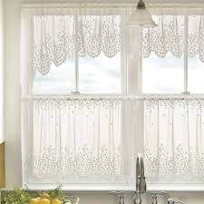 Window Art Tier Curtains And Valances by Blossom Floral Lace Kitchen Curtains In White And Beige