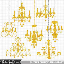 75 OFF SALE Gold Glitter Clip Art Chandeliers Silhouettes Clipart For Wedding Invitations