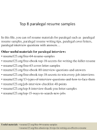 100 Paralegal Resume Sample Top 8 Paralegal Resume Samples