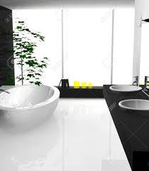 moderne luxuriöses badezimmer mit modernem design und möbel in schwarz und weiß 3d rendering gefärbt