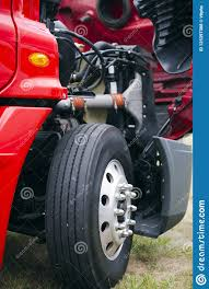 100 Semi Truck Parts And Accessories Engine Wheel Of Red Big Rig With Open Hood Stock
