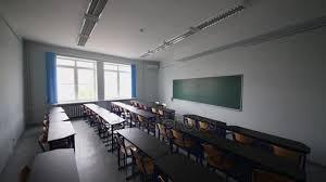 lumiere bureau salle classe avec bureau tableau noir lumière est sur alors vidéo