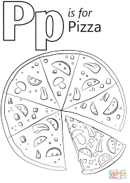 Pizza Coloring Pages Letter P Is For Page Free Printable Online