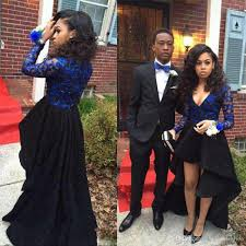 real photos cheap prom dresses high low long sleeve v neck formal