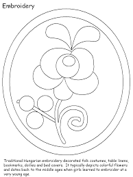 Hungary Embroidery Countries Coloring Pages