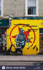 the joe strummer mural in nothing hill london stock photo
