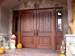 Popular Rustic Double Front Doors With Exterior Furnitures Entrance Door