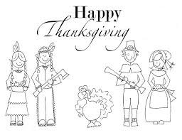 Indian And Pilgrim Family Coloring Pages Printable Thanksgiving
