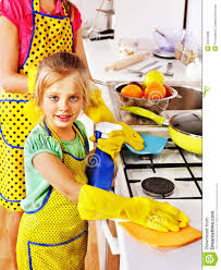 Kids Clean Kitchen Clipart
