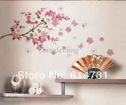 Flowers Butterfly Wall Sticker Sakura Paper Cherry Blossom Decor Removable Graffiti Stickers Graphic Decals From