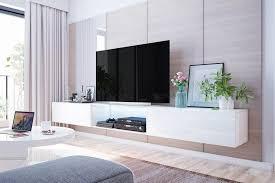 selsey tv lowboard tv hängeboard larka 300 cm mit led beleuchtung in weiß hochglanz und in weiß matt
