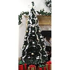 Popular Artificial Silver Tip Christmas Tree by Amazon Com Brylanehome Flat To Fabulous Fully Decorated Pre Lit