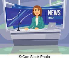Anchorwoman Character On Tv Breaking News Vector Flat
