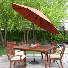 9 Ft Patio Umbrella With Crank by 9 Ft Push Button Tilt Patio Umbrella With Rust Red Orange Shade