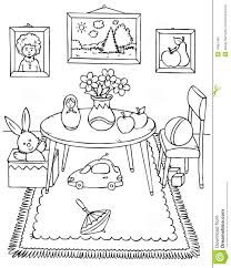 Coloring Page Table Chair Pictures And Toys In A Room Clipart Kid