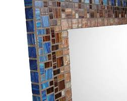 Blue Mosaic Bathroom Mirror by Round Mirror Mosaic Wall Mirror Blue Gray And Tan Cottage