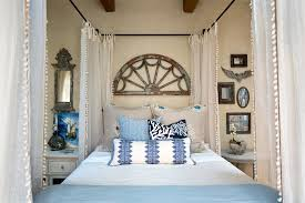 Rustic Beach Cottage Decor Bedroom Style With Bed Curtains Blue And White