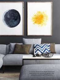 mond und sonne unterlegen 2 aquarell blau gelb wohnzimmer dekor abstrakte minimalistische wanddekoration vollmond gold kunstdruck
