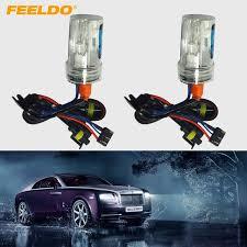 feeldo 1pair car 12v 35w h15 xenon hid bulbs with halogen l
