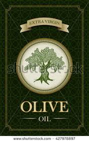Vector olive oil label design with olive tree illustration