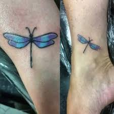 Colorful Dragonfly Mother Daughter Tattoo 03