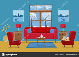 wohnzimmer in gelb rot blau rotes sofa mit tisch