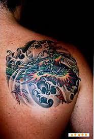 Asian Dragon Tattoo On Back Shoulder For Men