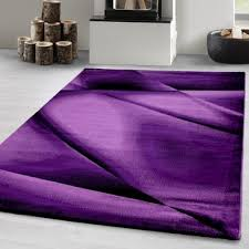 designer teppich kurzflor wohnzimmerteppich linien wellen gemustert lila