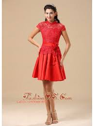 High Neck Red Mother Of The Bride Dress With Sash Lace And Taffeta In Juneau