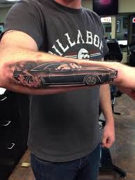Beautiful Camaro Car Tattoo On Right Arm