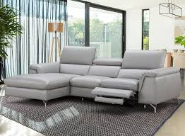 light grey italian leather serena sectional sofa wall hugger