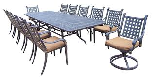 Cast Aluminum Patio Furniture With Sunbrella Cushions by Amazon Com Oakland Living Belmont 13 Piece Expandable Dining