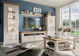 wohnzimmer 5teilig flair kiefer 2farbig weiß eichefarben casade mobila