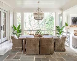 Sunken Sunroom Dining Space With Slate Floor Tiles
