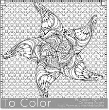 Starfish Patterned Coloring Page For Grown Ups This Is A Printable PDF