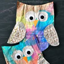 Easy Owl Crafts For Preschoolers Colorful Newspaper Craft Kids I Heart Crafty Things