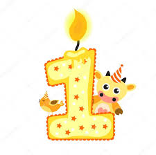 Happy First Birthday Candle and Animals Isolated on white birthday 1 year childrens card