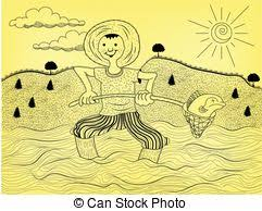 Vector Clipart Of Coloring Book With Fisherman