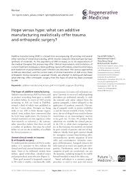 si e orthop ique versus hype what can additive pdf available