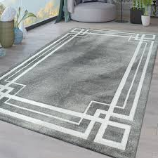 kurzflor wohnzimmer teppich geometrische bordüre