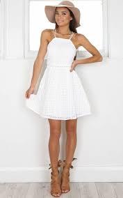 White Criss Cross Back Halter Mini Dress
