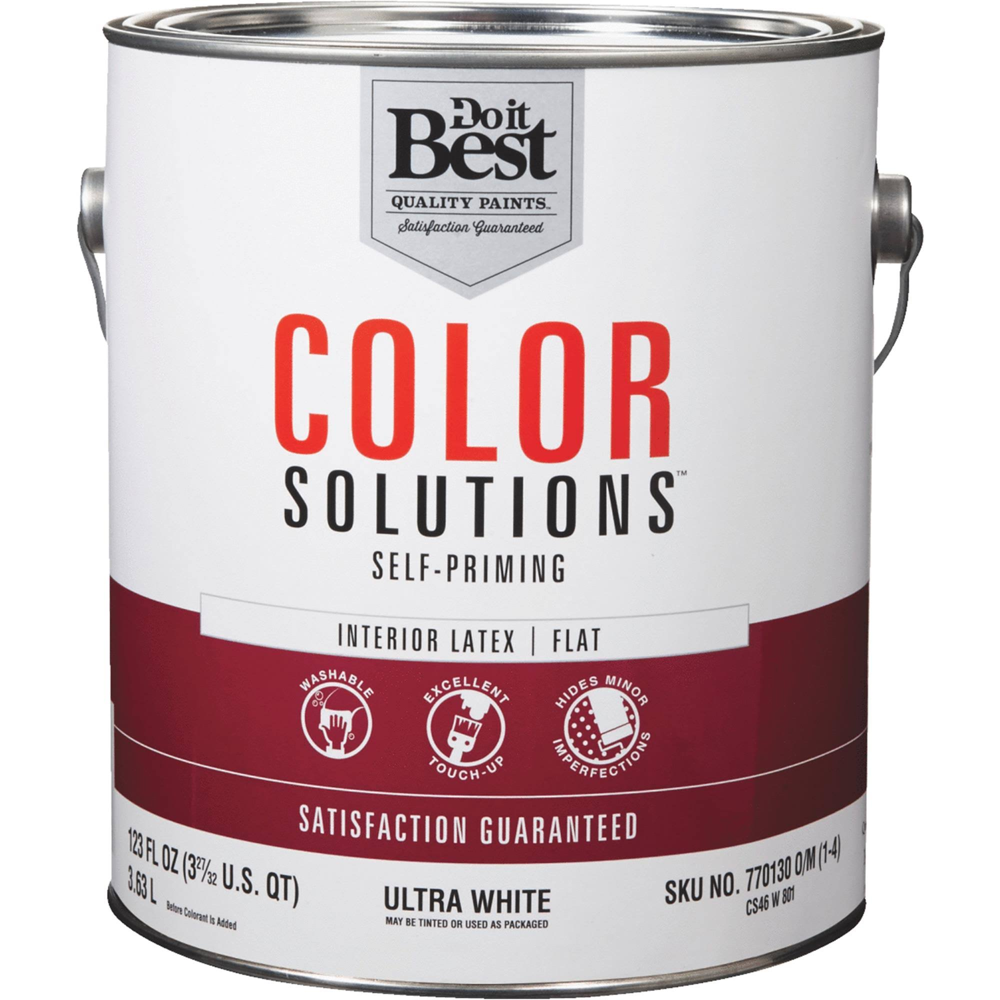 Do It Best Color Solutions Self-Priming Latex Flat Interior Wall Paint - Ultra White, 1gal