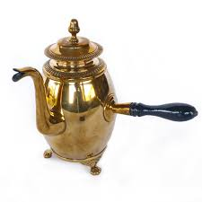 Swedish Brass Coffee Pot Signed SB Circa 1825
